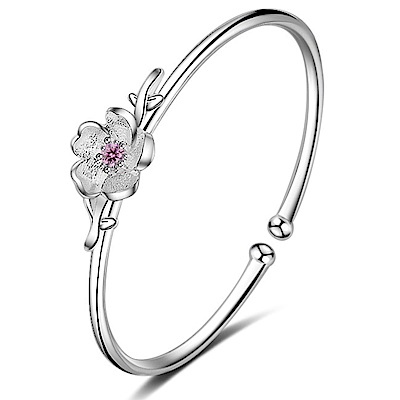 Angel 春之櫻花雨鋯石花朵彈性開口手環 3色可選