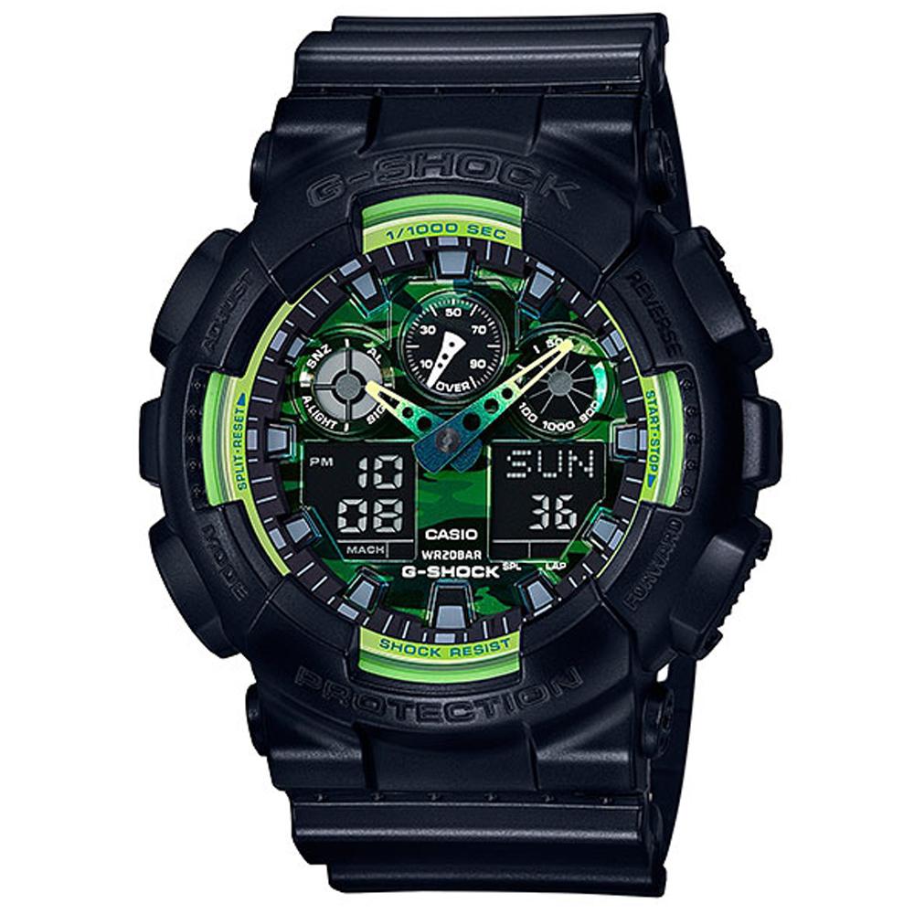 G-SHOCK 迷彩設計黃綠雙色多層次休閒運動錶(GA-100LY-1A)-51.2mm