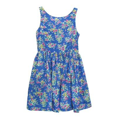 Ralph Lauren 女童碎花無袖連身裙洋裝-藍色(14歲)