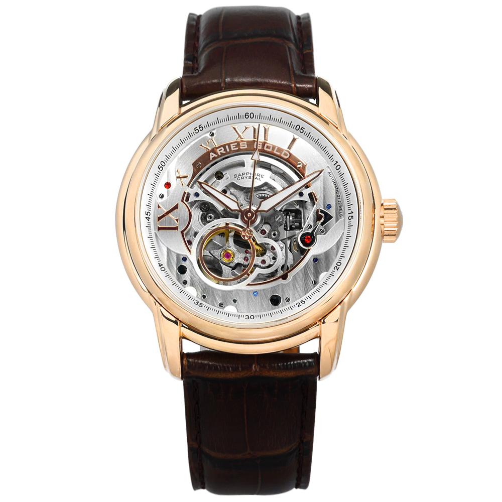 ARIES GOLD 自動上鍊 鏤空錶盤 真皮機械錶-銀白x玫瑰金框x褐/43mm