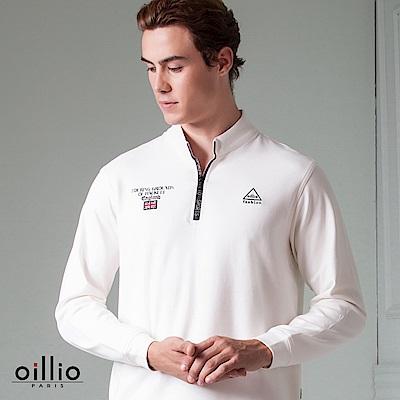 歐洲貴族 oillio 長袖T恤 小立領款式 品牌印花拉鍊 白色
