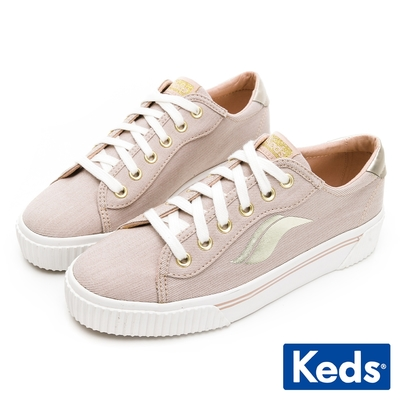 Keds CREW KICK ALTO 復古金屬釦厚底帆布鞋-奶茶