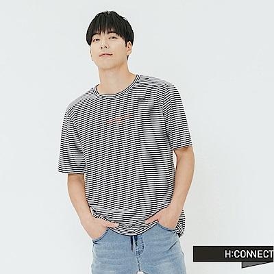 H:CONNECT 韓國品牌 男裝-細條紋圓領印字T-shirt-灰