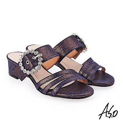 A.S.O 炫麗魅惑 金箔絨面低跟奈米涼拖鞋 紫色