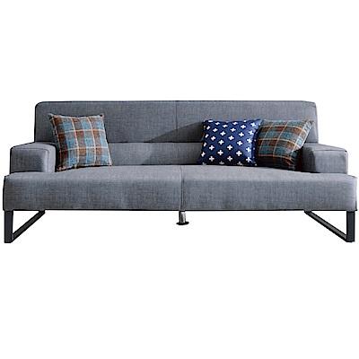 品家居 費尼時尚灰貓抓皮革獨立筒三人座沙發椅-212x100x84cm免組