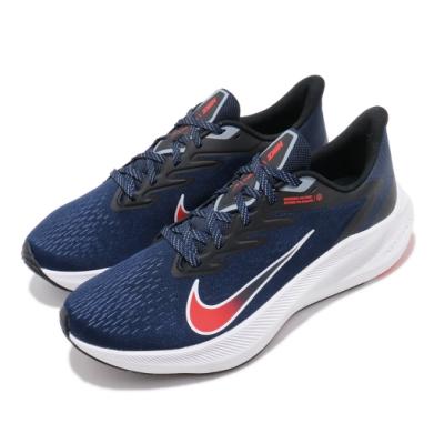 Nike 慢跑鞋 Zoom Winflo 7 運動 男鞋 氣墊 避震 舒適 透氣 路跑 健身 藍 白 CJ0291400