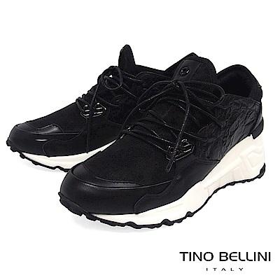 Tino Bellini 多層次率性拼接綁帶內增高休閒鞋 _ 黑