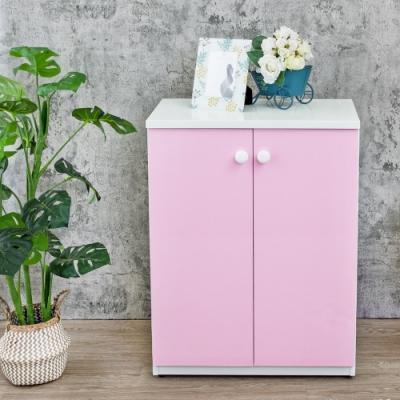 Birdie南亞塑鋼-防水2.1尺二門塑鋼收納櫃/窗邊櫃-白色+粉紅-63x36.5x84