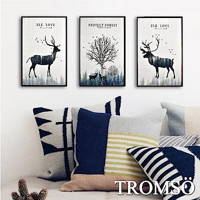 TROMSO 北歐生活版畫有框畫-麋鹿原野WA57(三幅一組)