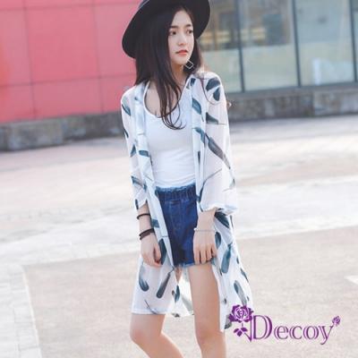Decoy 雪紡印花 七分袖防曬輕薄罩衫外套 白色羽毛