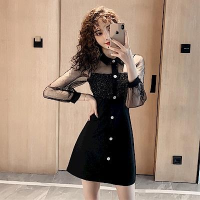 DABI 韓系名媛氣質亮晶透視網紗袖單排釦長袖洋裝