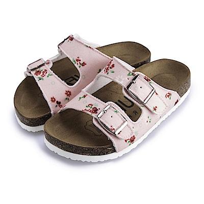 BuyGlasses 雙釦印花兒童拖鞋-粉花