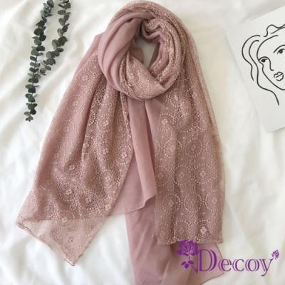 Decoy 拼接蕾絲 日系純色棉柔透膚圍巾 粉