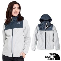The North Face 女 3效能_防水透氣防風耐磨連帽外_藍灰 N