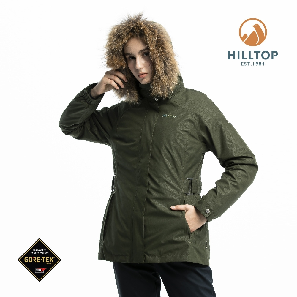 【hilltop山頂鳥】女款GORE-TEX二合一羽絨短大衣F22FZ6綠