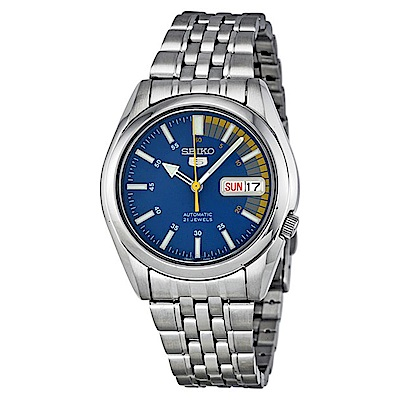 SEIKO精工  極速先鋒夜光 5 號自動上鍊機械腕錶(SNK 371 K 1 )-藍/ 37 mm