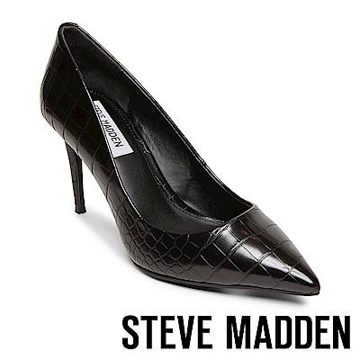 STEVE MADDEN-LILLIE 極美型素面尖頭高跟鞋-蛇紋黑