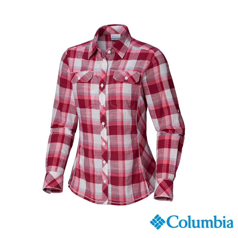 Columbia 哥倫比亞 女款-純棉長袖襯衫-紅色格紋 UAL79900RC