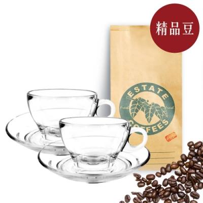 【屋告好喝】現烘精品咖啡豆半磅+拿鐵杯盤二入組260cc