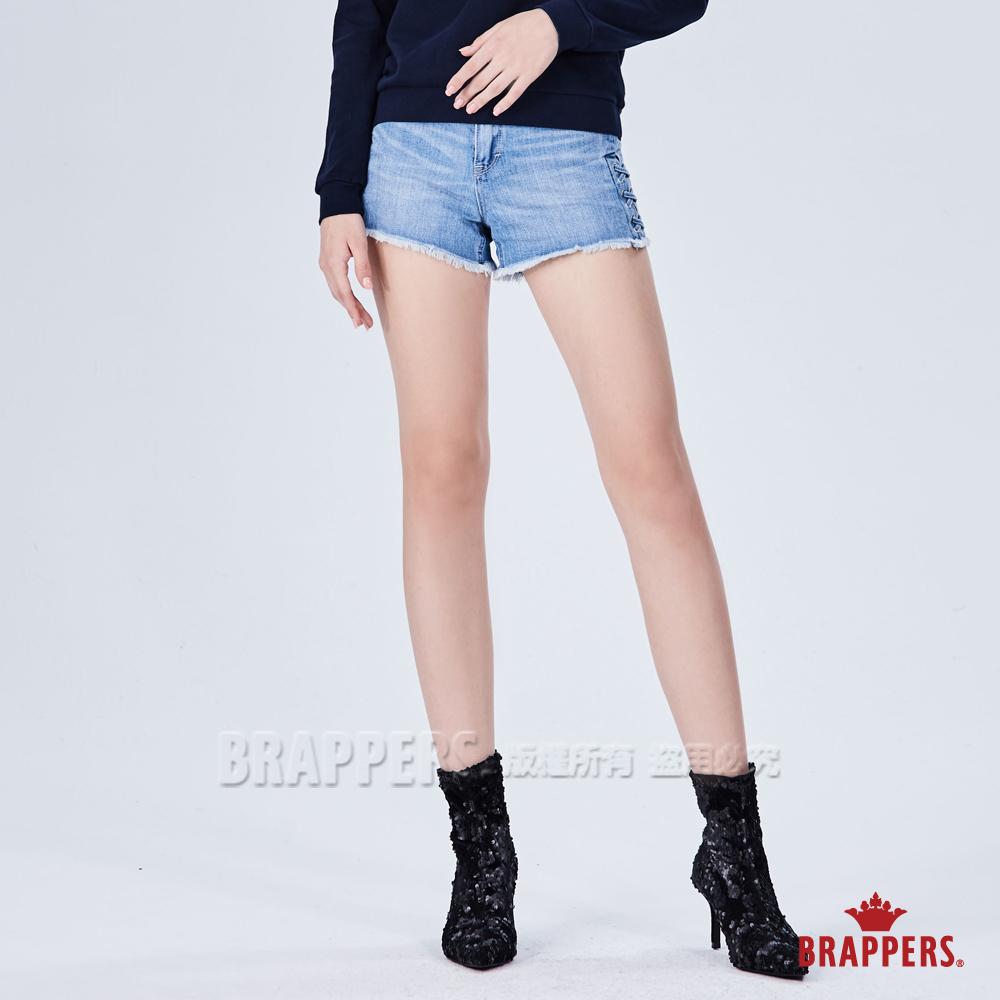 BRAPPERS 女款 Boy friend系列-編繩褲口不收邊短褲-藍