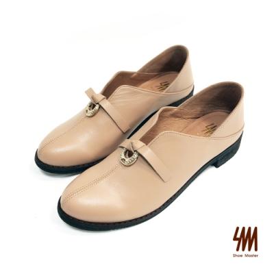 SM-帥氣復古系列-英倫顯瘦V口金屬扣環可踩樂福鞋-奶茶色(兩色)