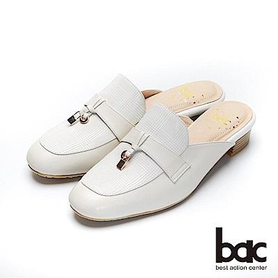 bac愛趣首爾-小方頭格紋異材質拼接粗跟後空穆勒鞋-米白