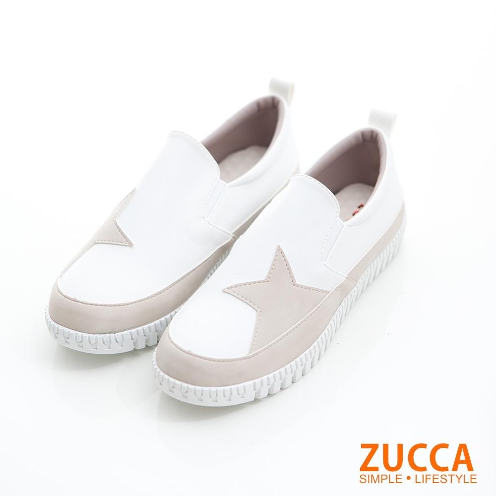 ZUCCA-雙色拼貼星星平底鞋-白-z6820we