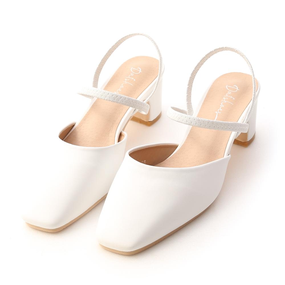 D+AF 仙女日常.方頭細帶二穿後空跟鞋*白