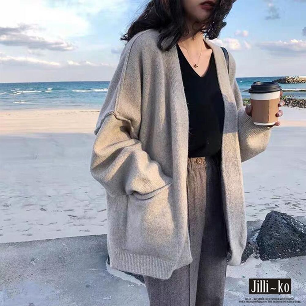 JILLI-KO 寬鬆慵懶風開衫針織外套- 卡其
