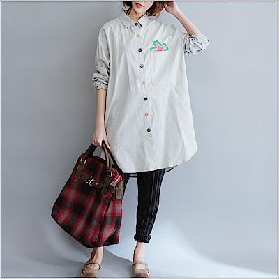 童趣印花撞色鈕扣襯衫-L~XL(共二色)-Keer
