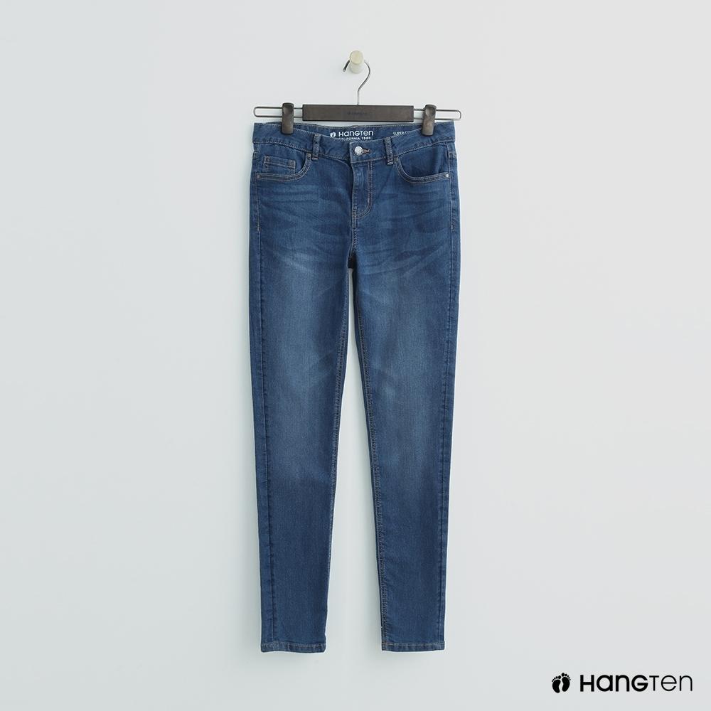 Hang Ten - 女裝 - 簡約素面修身牛仔窄褲 - 淺藍