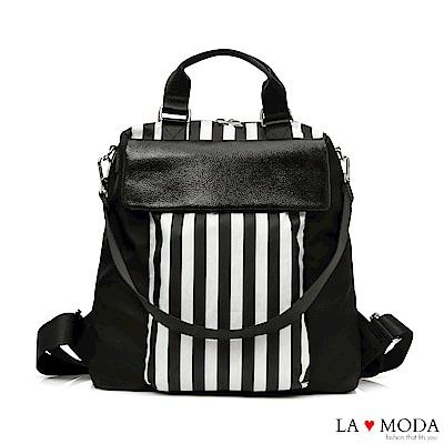 La Moda 超大容量出國旅遊必備防潑水防盜後拉鍊肩背後背包
