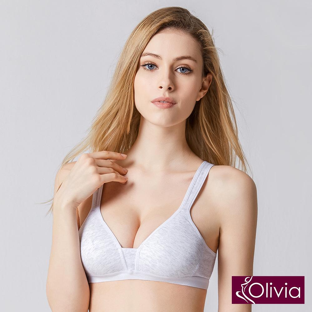 Olivia無鋼圈舒棉薄款輕運動內衣-淺灰