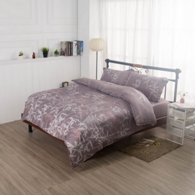 夢工場雅緻蔓延40支紗萊賽爾天絲四件式兩用被床包組-加大