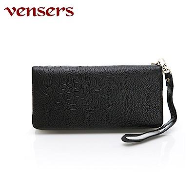 vensers 小牛皮潮流個性皮夾~(TA252201黑色長夾)