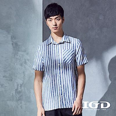 IGD英格麗 都會休閒百搭藍白粗條紋亞麻造型襯衫-藍色
