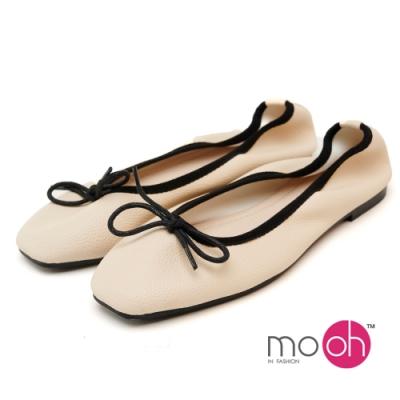 mo.oh芭蕾舞鞋法式柔軟蝴蝶結娃娃鞋-米白