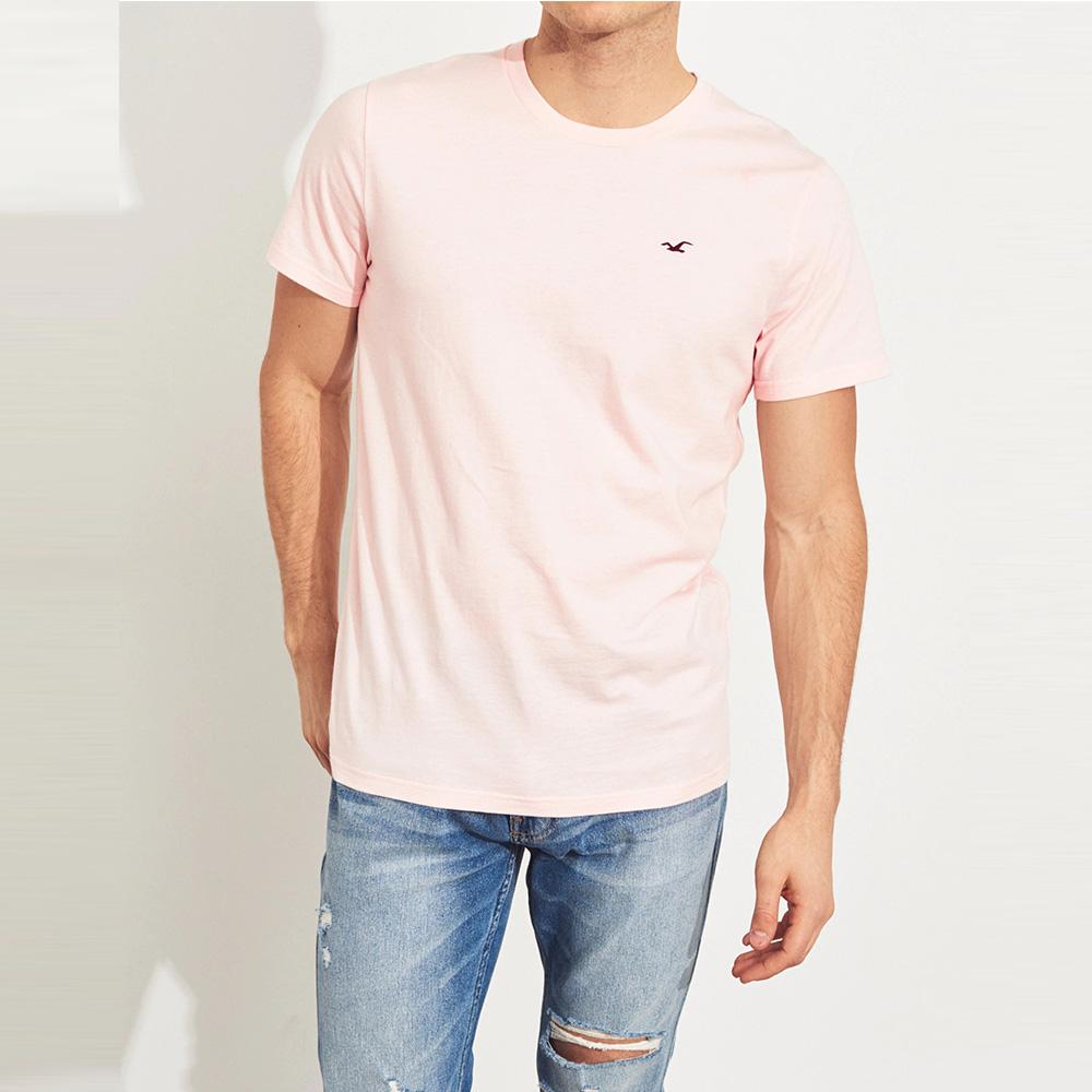 海鷗 Hollister HCO 經典刺繡標誌圓領素面短袖T恤-粉色