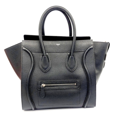 CELINE Luggage Mini經典款小牛皮手提冏包(黑)