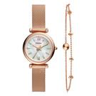 FOSSIL  百變珍珠母貝氣質腕錶-玫瑰金-ES4443SET-27mm
