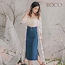 東京著衣-YOCO  唯美玫瑰蕾絲造型透膚長版罩衫-S.M.L