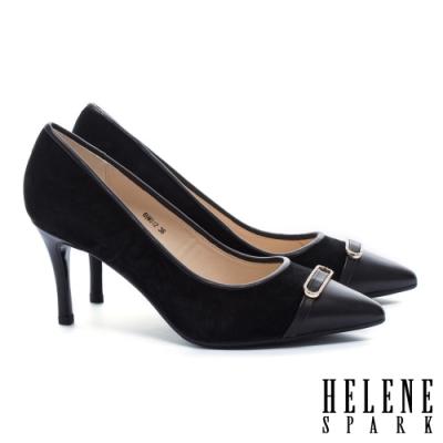 高跟鞋 HELENE SPARK 異材質拼接金屬鑽釦羊皮尖頭高跟鞋-黑