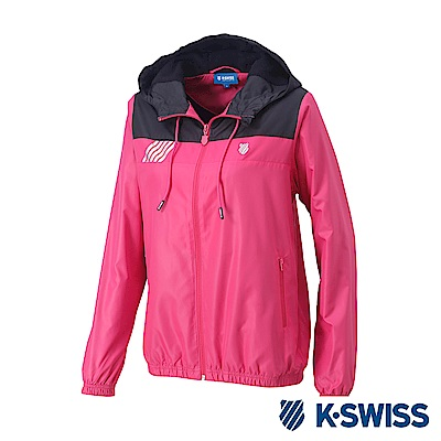K-Swiss Caontrst Top Panel Windbreaker-女-桃