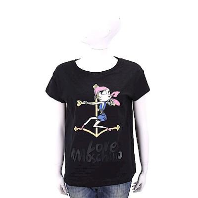 LOVE MOSCHINO 海盜女孩黑色短袖T恤