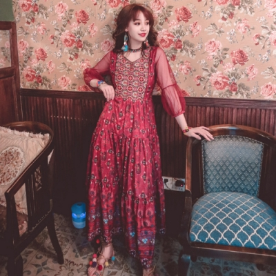 異國公主風復古透袖網紗拼接大裙擺洋裝S-XL(共二色)-維拉森林