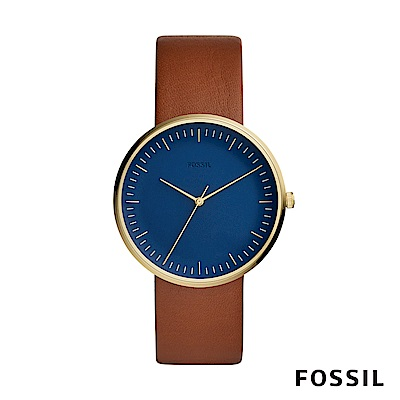 FOSSIL ESSENTIALIST 極簡風格中性錶-藍底棕錶帶 約42mm FS5473