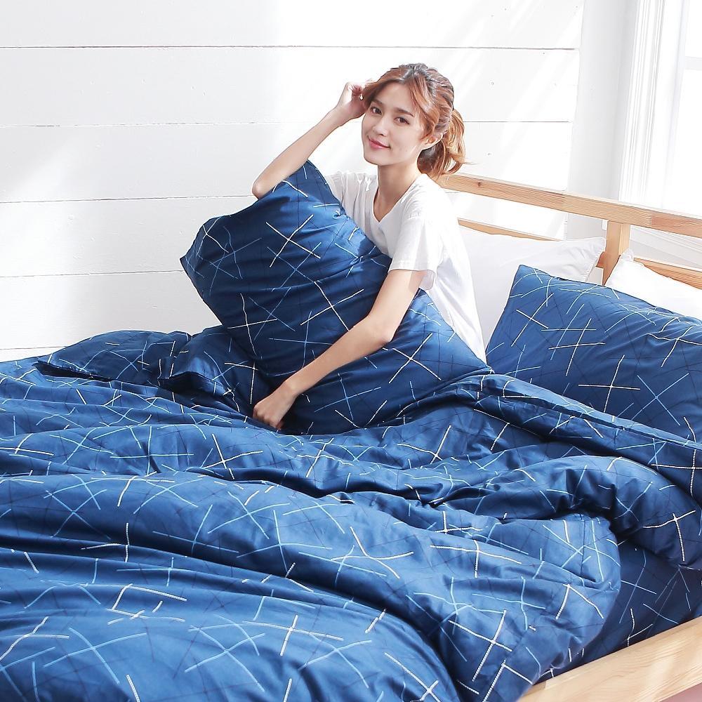 BUHO 雙人加大四件式精梳純棉床包被套組(藍調靈魂)