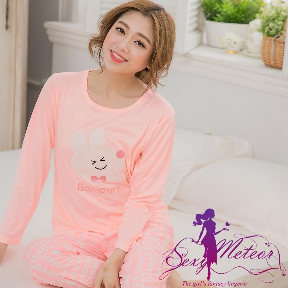 睡衣 全尺碼 兔子牛奶絲長袖二件式睡衣組(浪漫淺桔) Sexy Meteor