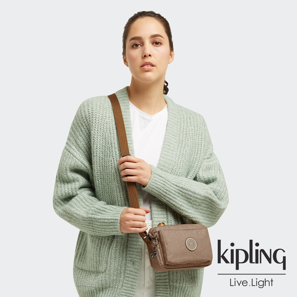 Kipling 烏龍拿鐵色前後加寬收納側背包-ABANU