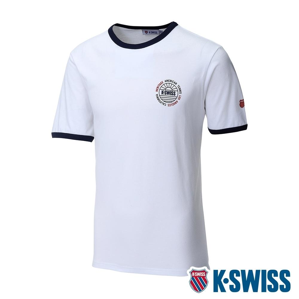 K-SWISS Crew Neck Binding Tee棉質吸排T恤-男-白